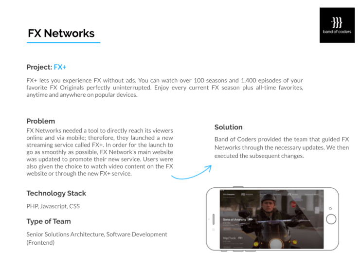 FX networks Portfolio - Band of Coders