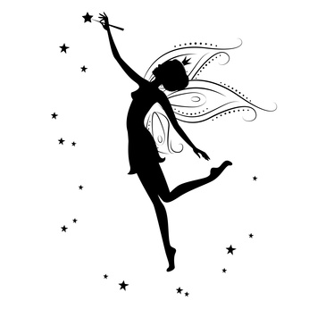 Silhouette of a fairy and stars