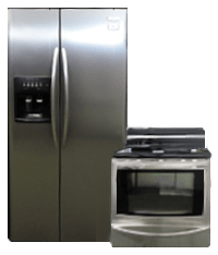 Stainless Steel Side By Side Refridgerator and Electric Range