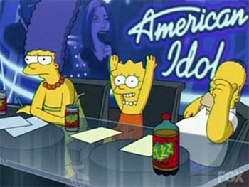 Originally, another TV show would only be referenced because it was familiar to viewers. Now it's because of a promotion. No Simpsons fan gives a fuck about American Idol.