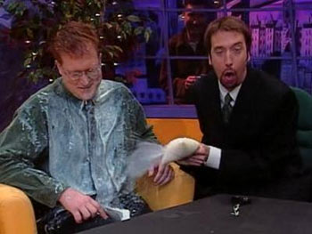 "(l-r:) Glenn Humplik and Tom Green, with one of Canada's accursed ""milk bags"". Hopefully I won't be legally pressured to remove this photo."