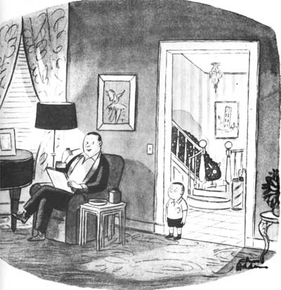 """""""I give up, Robert. What does have two horns, one eye, and creeps?"""" (New Yorker, 6/13/1953)"""