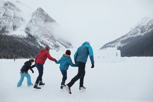 Ice skating at Fairmont Lake Louise Chateau- things to do in Banff Canada