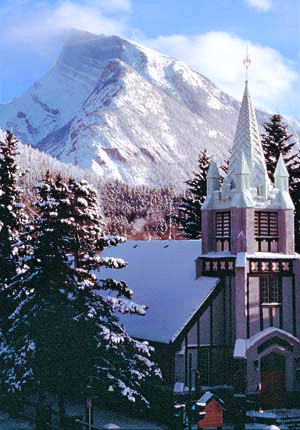 St. Paul's Church with a snow-capped Mt. Rundle.