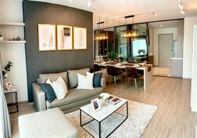 Rhythm Ekkamai condo | 350 m. to Ekamai BTS | corner unit, south-east facing | 2 double beds, bathtub, washer/dryer