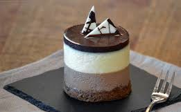 Day Night Mousse Cake made with chocolate