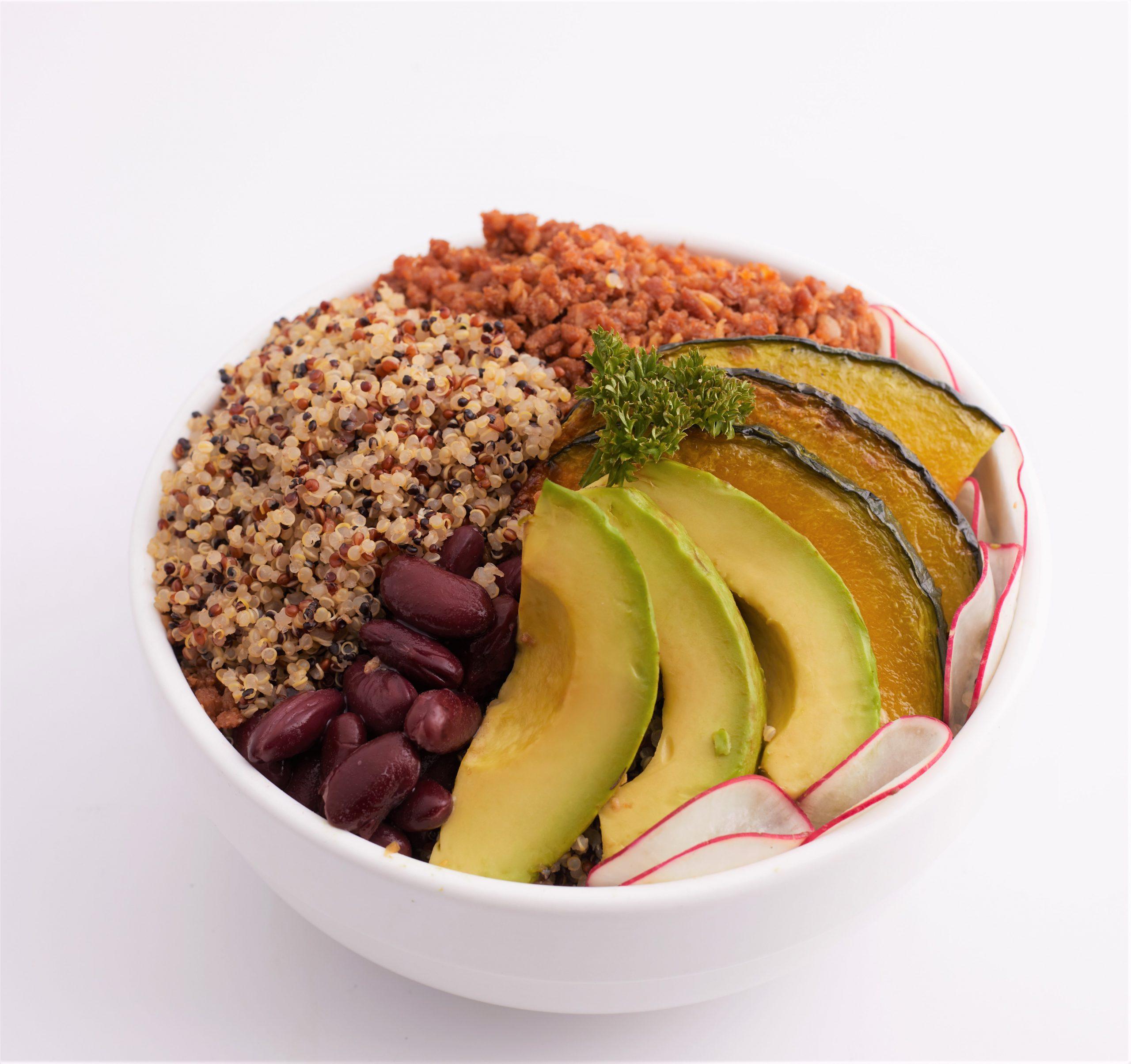 Healthy quinoa Teriyaki Salad with fake meat v2