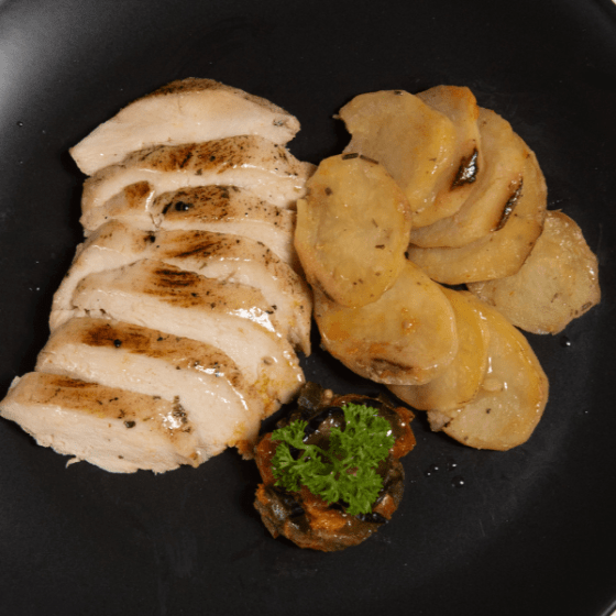 Roast Chicken with Ratatouille and Potatoes
