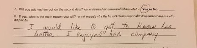 Our Dating Male Client gave date feedback to matchmaker he would like to get to know his date better