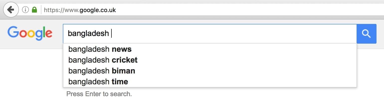 Bangladesh on Google UK