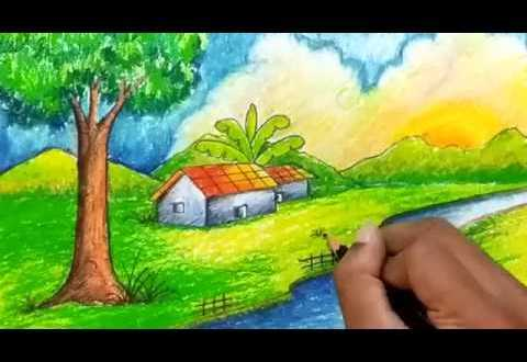 Cool Village Easy Drawing Pictures Of Nature