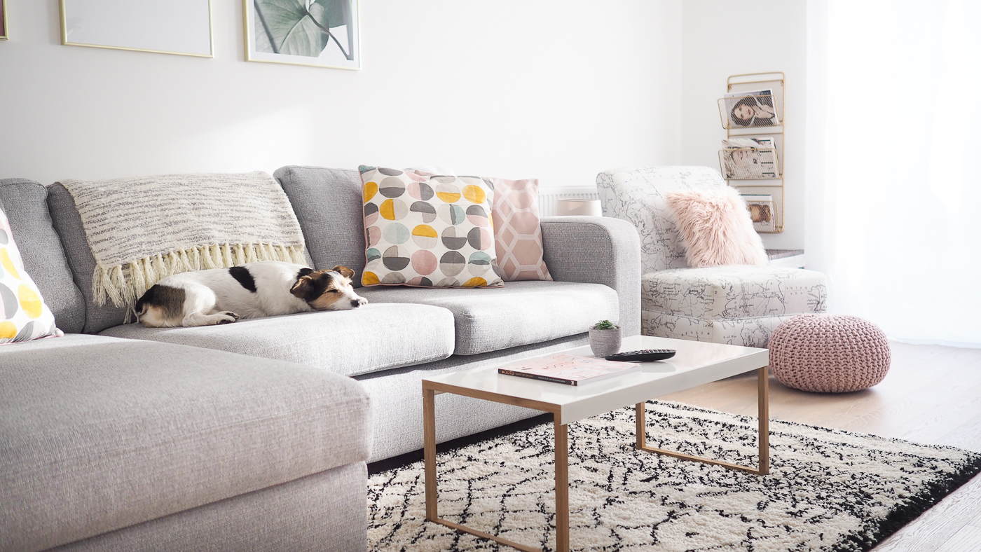 Living Room Tour Pink Grey Gold Decor Bang On Style