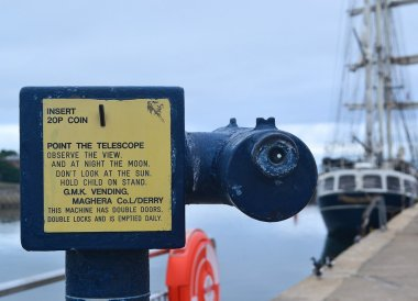 Telescope on Bangor Pier, Eisenhower Pier in Bangor, Northern Ireland