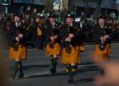 Bagpipe Bands, Saint Patricks Day Parade in Downpatrick Northern Ireland