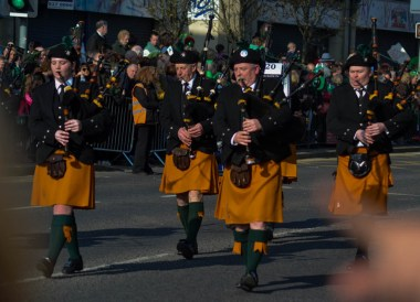 Bagpipe Bands, Saint Patricks Day Parade in Downpatrick Northern Ireland