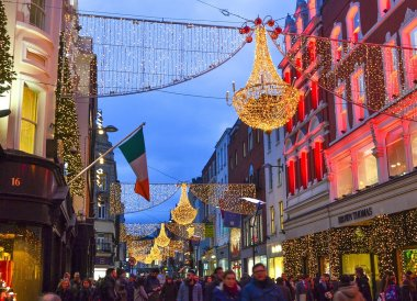 Grafton Street Decorations at Christmas in Dublin City Centre Ireland