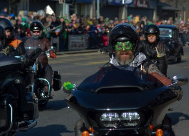 Motorbike Gangs, Saint Patricks Day Parade in Downpatrick Northern Ireland