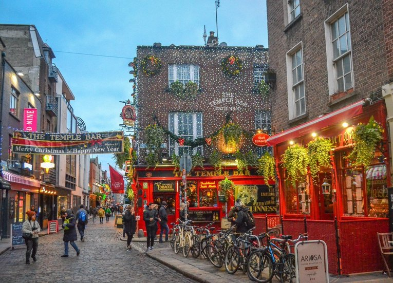 Temple Bar Area, Christmas in Dublin City Centre Ireland
