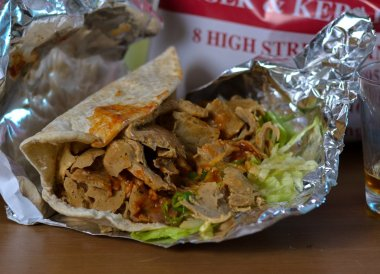 Kebab at Spice Island Indian Takeaway in Bangor Northern Ireland