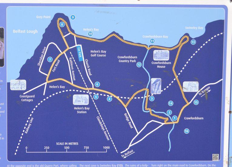 Bayburn Trail Map, Crawfordsburn Country Park & Beach Bangor Northern Ireland