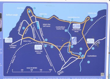 Bayburn Trail Map, Crawfordsburn Country Park & Beach Bangor Northern Ireland