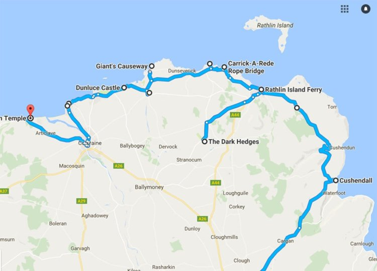 Road Trip Map, GIants Causeway Coastal Route Tourist Attractions