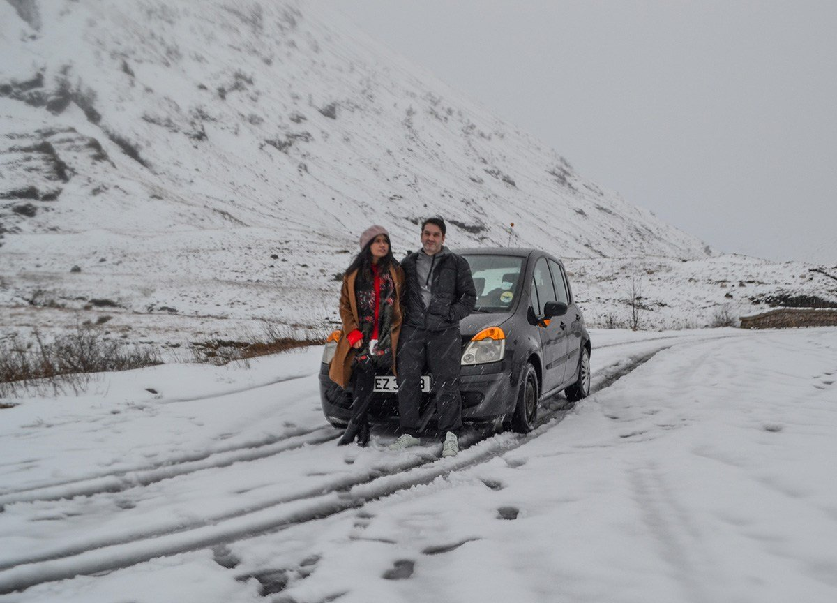 Allan and Fanfan Wilson, Scotland Road Trip in Scottish Highlands in Winter Snow