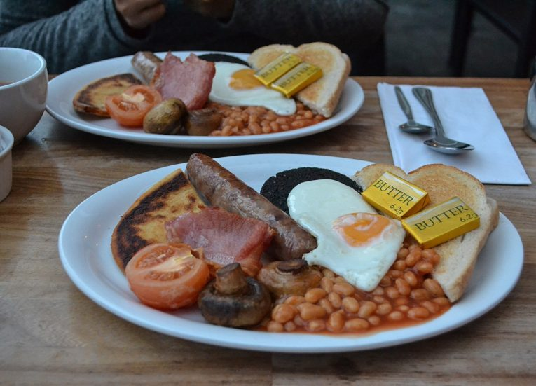 Traditional Scottish Breakfast, Scotland Road Trip in Scottish Highlands in Winter Snow