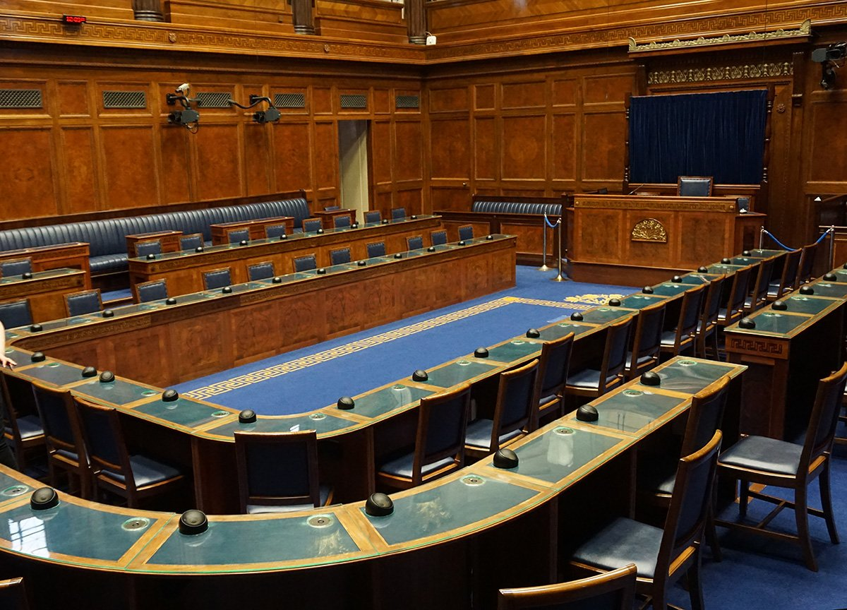 Assembly Chamber in Stormont Parliament Buildings in Belfast NI