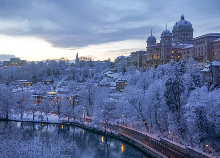 House of Parliament Bern in Snow, Interrail in Winter: Train Travel in Europe Itinerary