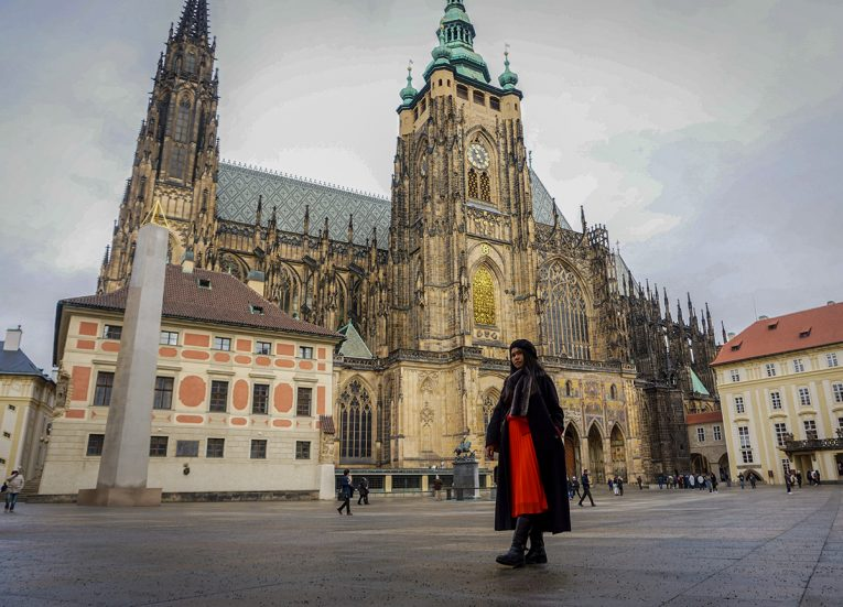Prague Castle in Czech Republic, Train Travel on Interrail in Winter