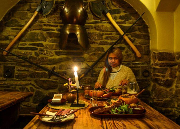 Bohemian Food at Local Restaurants, Cesky Krumlov in Winter Snow (Czech Republic)