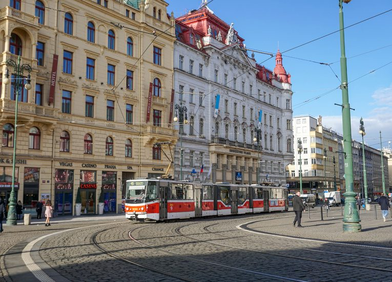 Trams in Old Town Prague in Czech Republic, Train Travel on Interrail in Winter