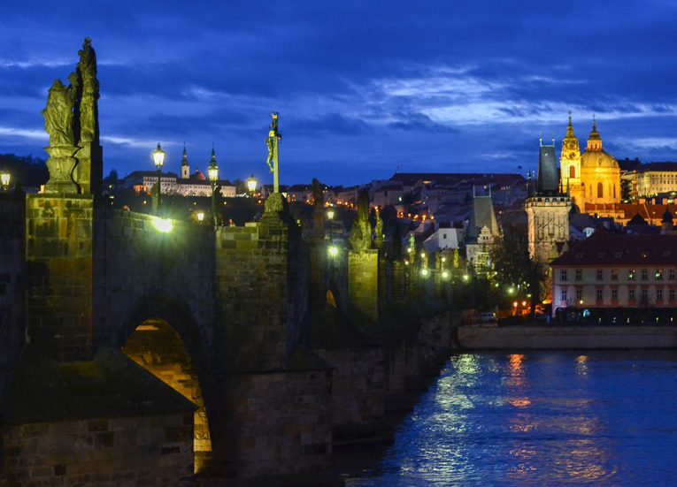 Night Time at Charles Bridge, Prague Czech, Train Travel on Interrail in Winter