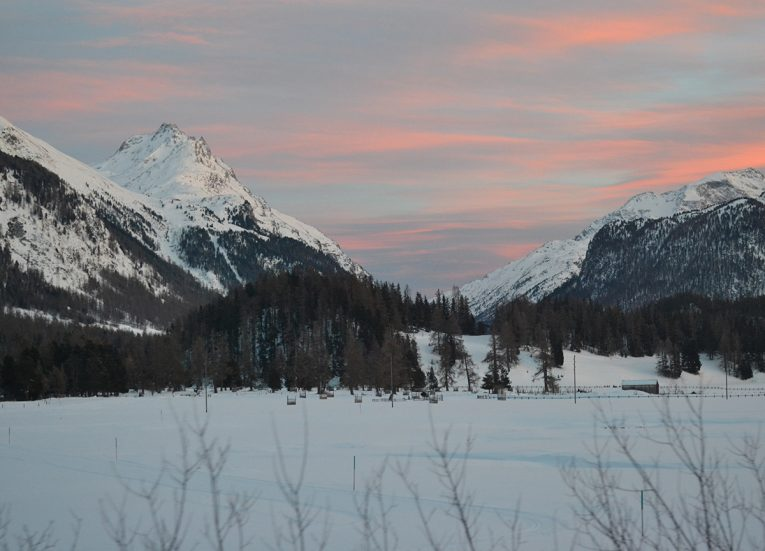 Sunset at St Moritz Mountains, Interrail in Winter Train Travel in Europe
