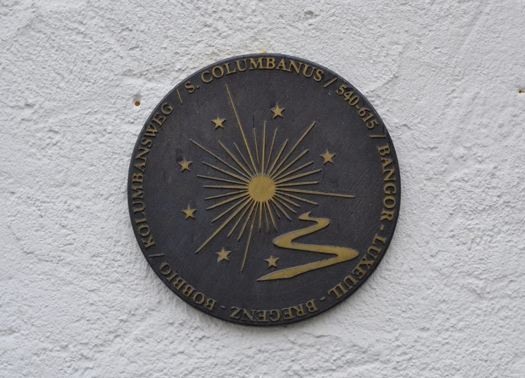 Plaque at Saint Gallen, The Columban Way. Saint Gallen in Switzerland. Columbanus from Bangor to Bobbio