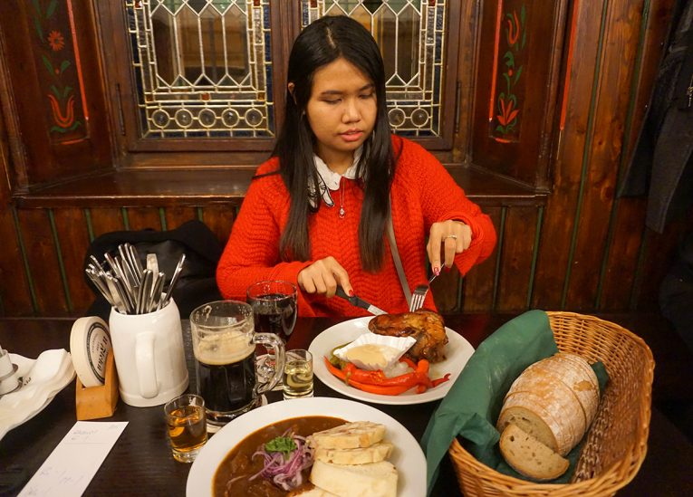 Traditional Food in Prague, Train Travel on Interrail in Winter in Europe