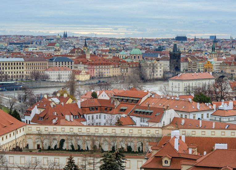 View from Prague Castle Czech, Train Travel on Interrail in Winter