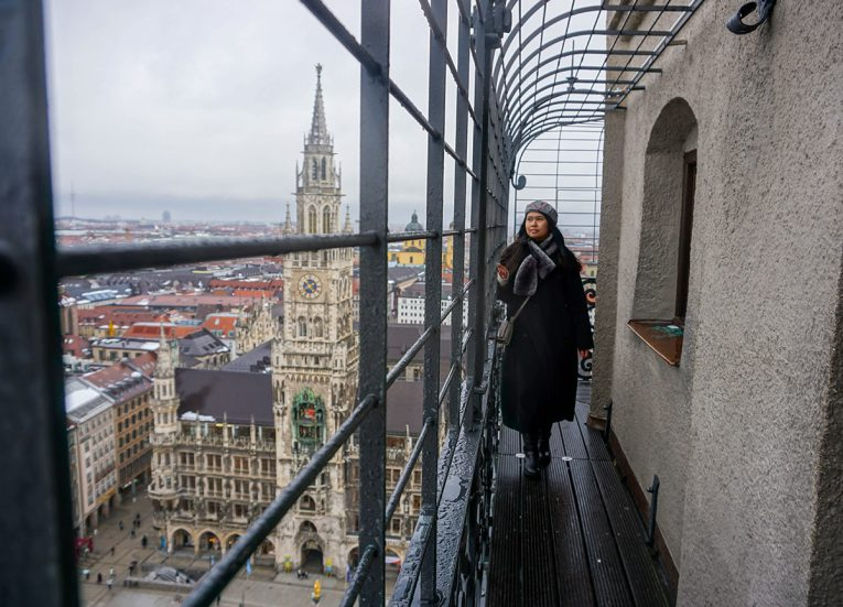 Views from St. Peter's Church Munich, Train Travel on Interrail in Winter in Europe