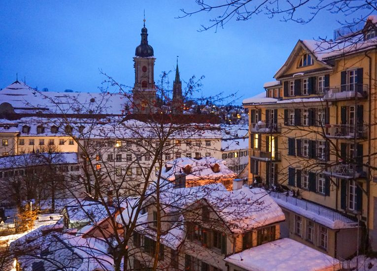 Viewpoint of Saint Gallen in Snow, Interrail in Winter: Train Travel in Europe Itinerary