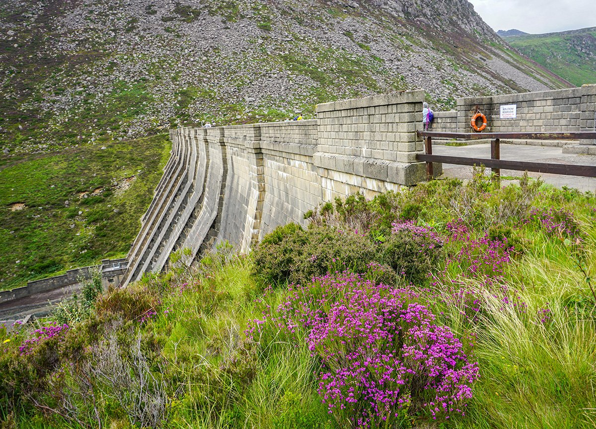 On Top of Dam Wall at Ben Crom Reservoir in Mourne Mountains