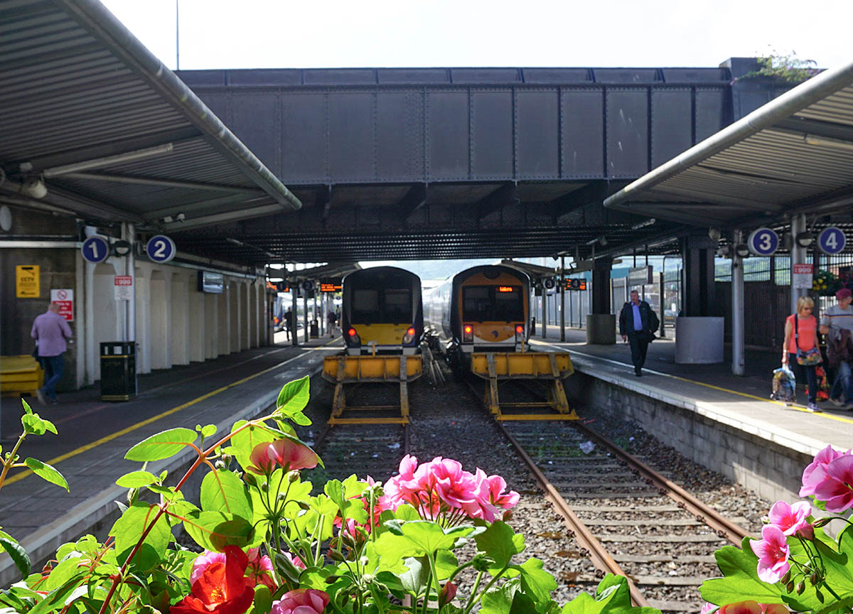 Trains at Great Victoria Street Railway Station in Belfast City Centre