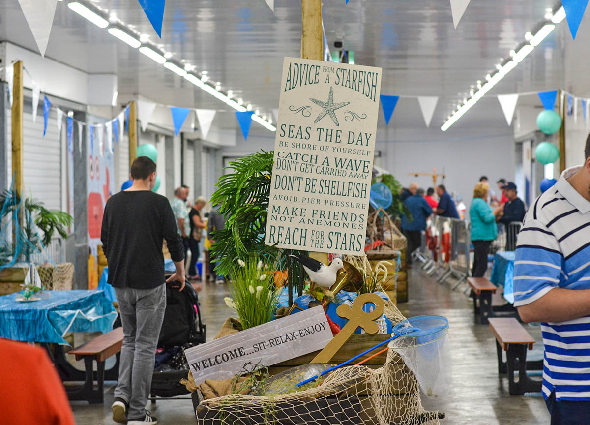 Indoors Eating Area Annual Portavogie Seafood Festival in Summer Northern Ireland