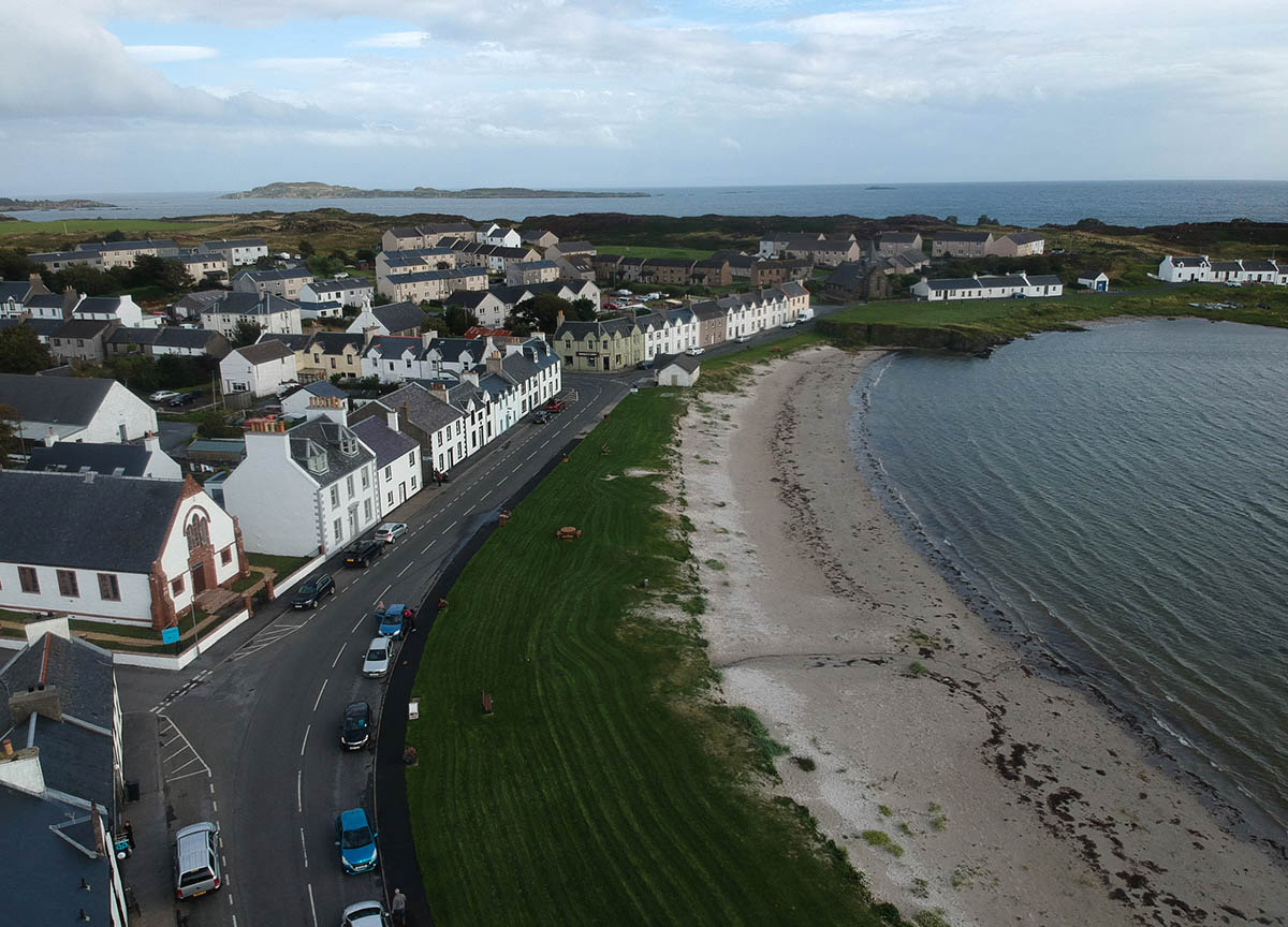 Beach-at-Port-Ellen-the-Main-Ferry-Port-in-Islay-Scotland