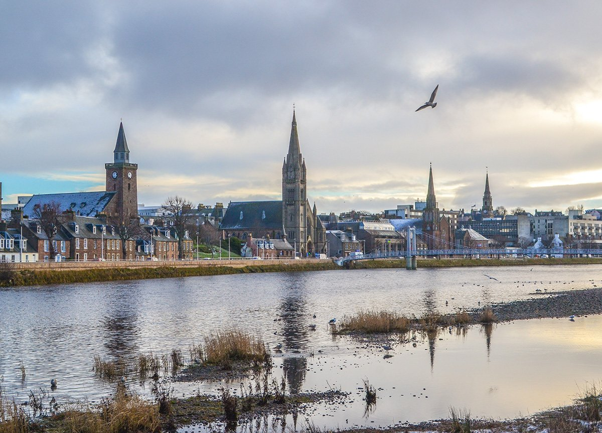 River Ness Passing Inverness in Scotland Highlands