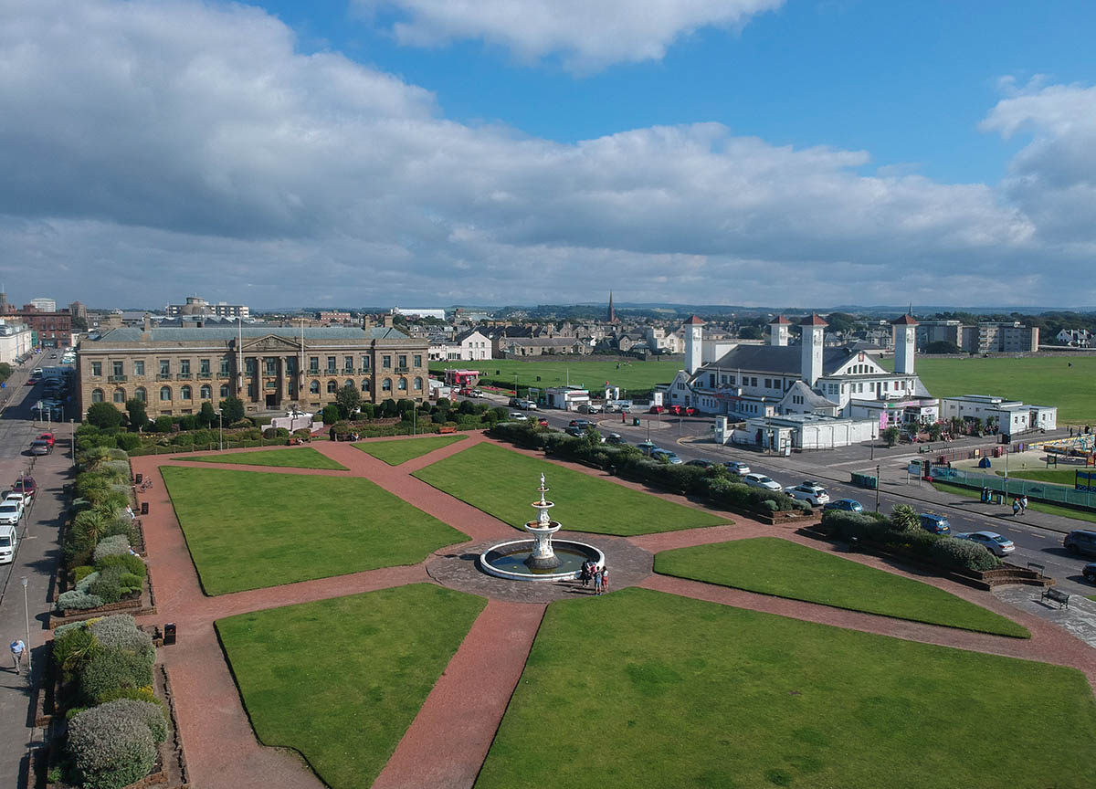 Steven-Fountain-in-Ayr-Beach-Seafront. Places to Visit in Scotland