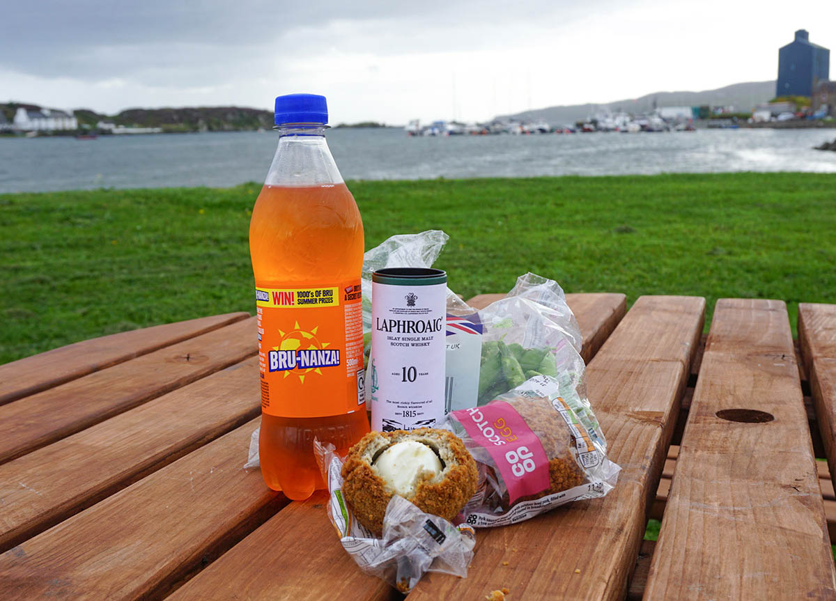 Traditional Scottish Picnic with Scotch Eggs and Irn Bru in Scotland