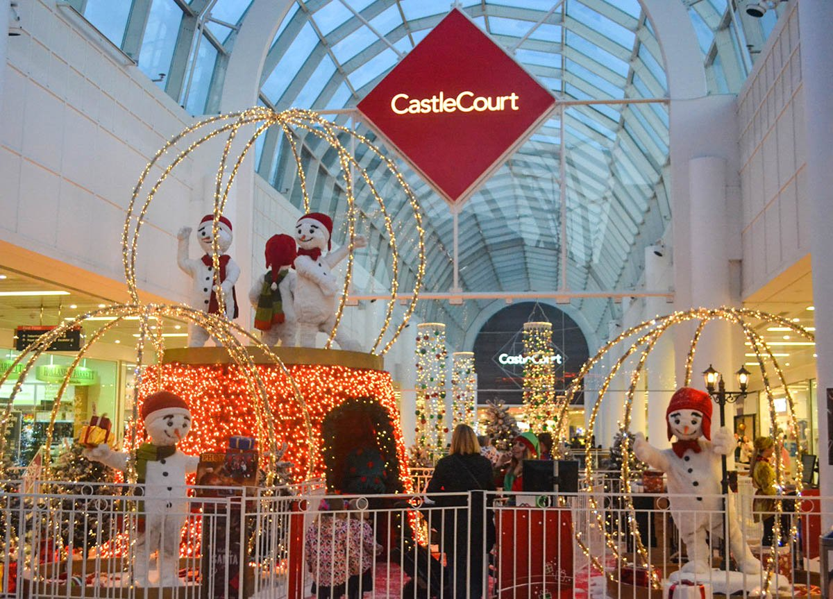 Castle Court Shopping Mall at Christmas Time in Belfast