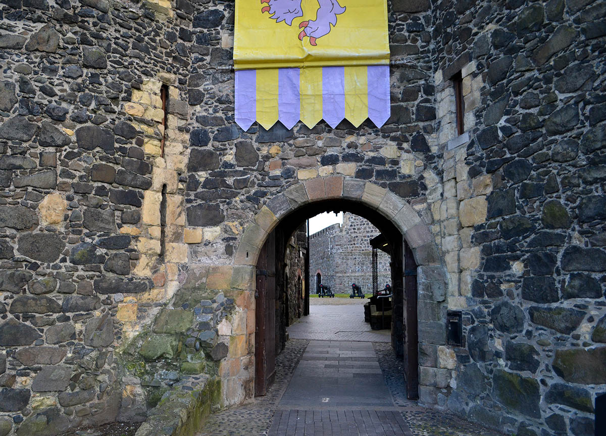 Entrance to Carrickfergus Castle near Belfast in Northern Ireland
