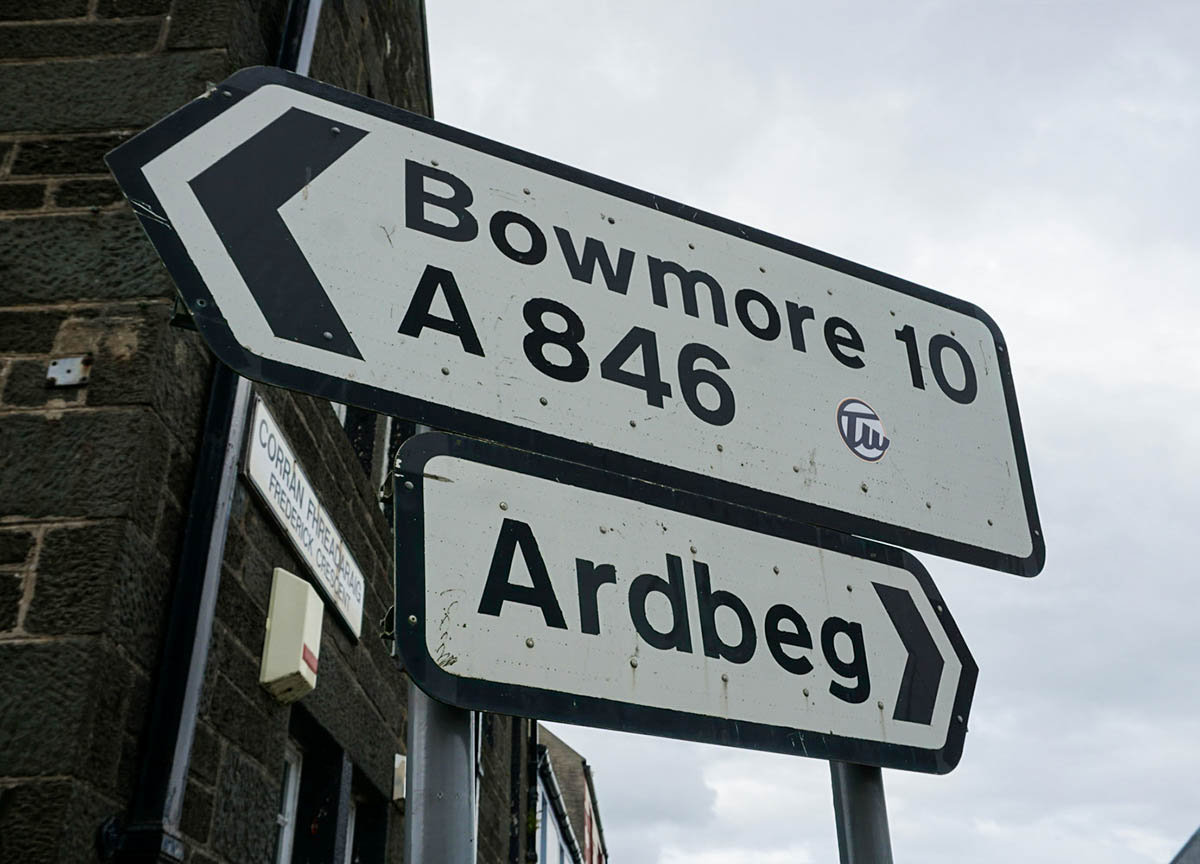 Road Signs for Driving Road Trip to Islay Island Scotland